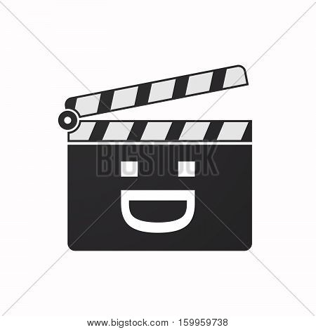 Isolated Clapper Board With A Laughing Text Face