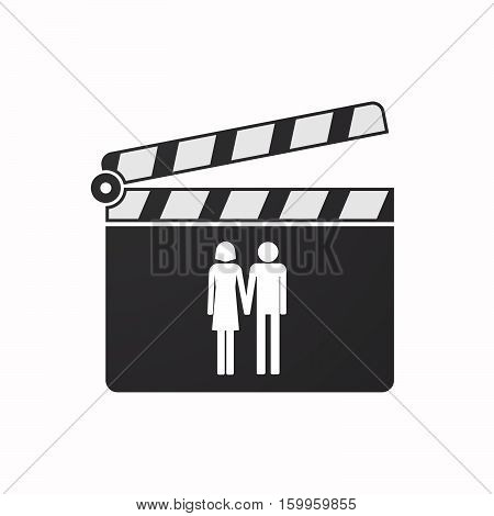 Isolated Clapper Board With A Heterosexual Couple Pictogram