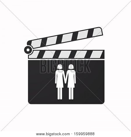 Isolated Clapper Board With A Lesbian Couple Pictogram