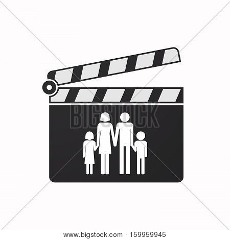 Isolated Clapper Board With A Conventional Family Pictogram
