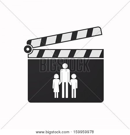 Isolated Clapper Board With A Male Single Parent Family Pictogram