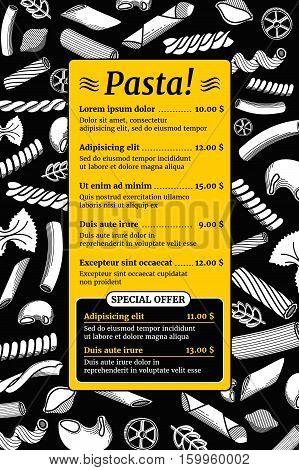 Vintage italian pasta menu vector mockup. Template of menu, illustration of italian restaurant menu