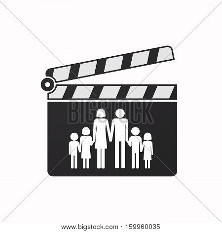 Isolated Clapper Board With A Large Family  Pictogram
