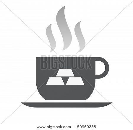 Isolated Coffee Cup With Three Gold Bullions