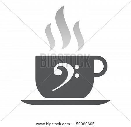 Isolated Coffee Cup With An F Clef