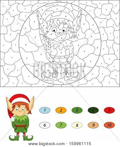 Christmas Elf. Color By Number Educational Game For Kids