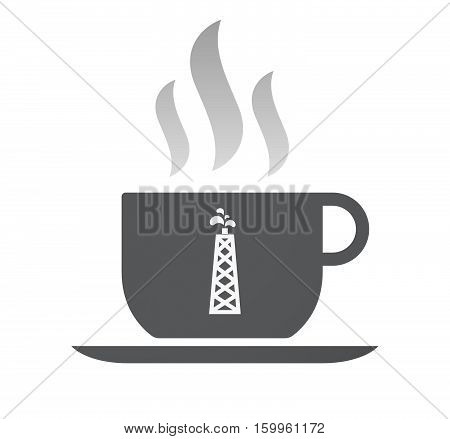 Isolated Coffee Cup With An Oil Tower