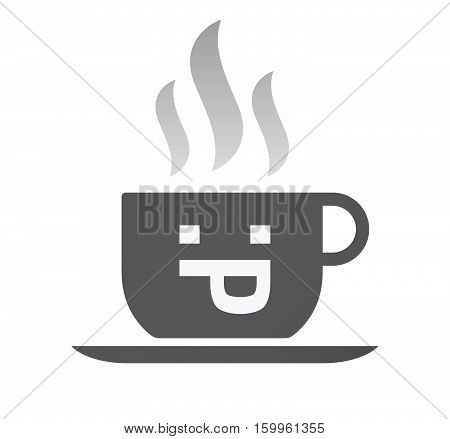 Isolated Coffee Cup With A Sticking Out Tongue Text Face