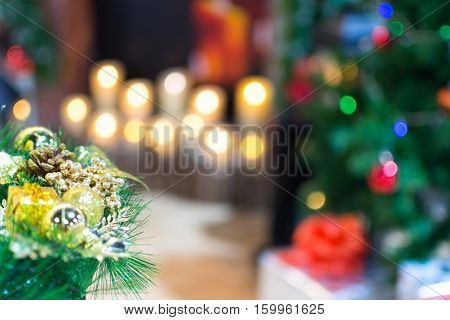Christmas decoration and abstract bokeh background of Christmas tree decoration for merry christmas Xmas and happy new year