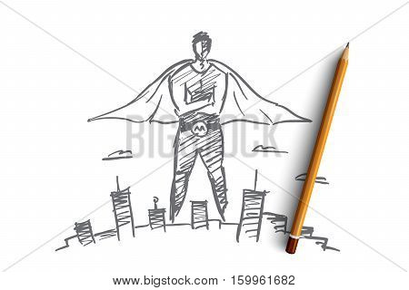 Vector hand drawn hero man concept sketch with pencil over it. Superhero in traditional costume over big city