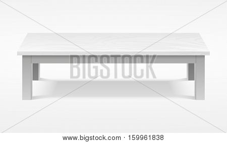 Modern white table, exhibition presentation desk vector mockup. Furniture tabletop empty, rectangular clean wooden table illustration