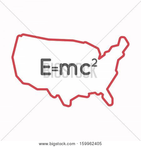 Isolated Map Of Usa With The Theory Of Relativity Formula