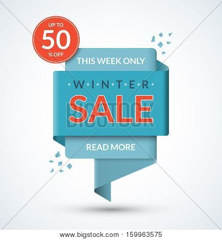 Winter sale banner. Discount label. Christmas and New Year sale tag. Special offer vector template. Up to 50 percent off badge. Half price colorful sticker. Shopping background