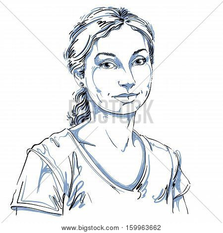 Artistic Hand-drawn Vector Image, Black And White Portrait Of Delicate Loving Peaceful Girl. Emotion