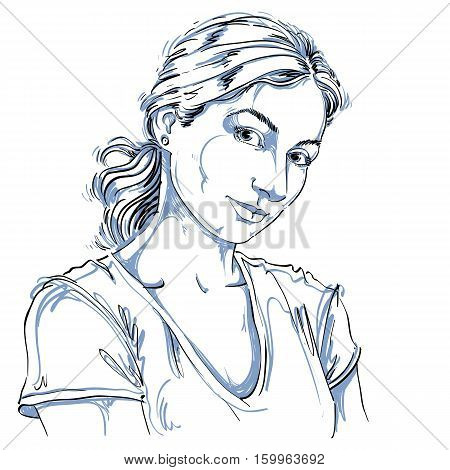 Hand-drawn Vector Illustration Of Beautiful Romantic And Tender Woman. Monochrome Image, Expressions