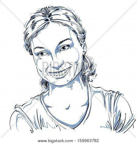 Monochrome Vector Hand-drawn Image, Romantic Young Woman Smiling. Black And White Illustration Of Gl