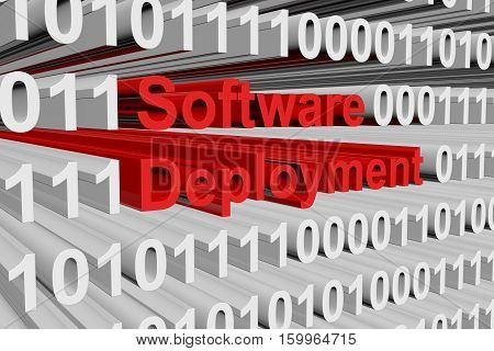 Software deployment in the form of binary code, 3D illustration