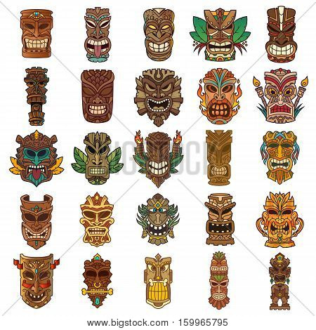 Tiki head set designed in different colors