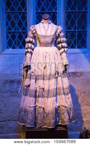 Leavesden, London, UK - 1 March 2016: Ghost's dress in the The great Hall. Warner Brothers Studio display of decorations for Harry Potter film