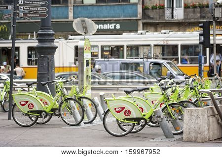 BUDAPEST, HUNGARY, JULY 9, 2015: MOL BuBi is a bicycle sharing network in Budapest, Hungary. Its name is a playful contraction Budapest and Bicikli (bicycle in Hungarian).