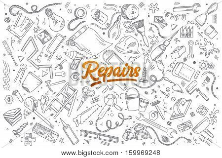 Hand drawn set of repairs instruments doodles with lettering in vector