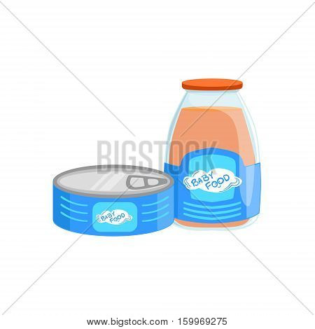 Industrial Products, Tin Can With Meat And Glass Bottle With Juice Supplemental Baby Food Products Allowed For First Complementary Feeding Of Small Child Cartoon Illustration. Colorful Flat Vector Drawing With Meal Allowed For Toddler Proper Diet.