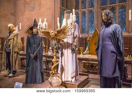 Leavesden, London, UK - 1 March 2016: Costumes display Professor Dumbledore, Professor Snape and other wizards. Decorations for the Harry Potter film in the Warner Brothers Studio