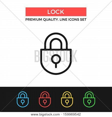 Vector lock icon. Protection, security concept. Premium quality graphic design. Modern signs, outline symbols collection, simple thin line icons set for websites, web design, mobile app, infographics