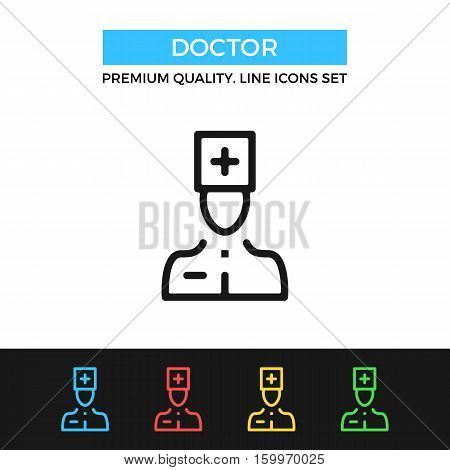 Vector doctor icon. Medicine concepts. Premium quality graphic design. Modern signs, outline symbols collection, simple thin line icons set for websites, web design, mobile app, infographics