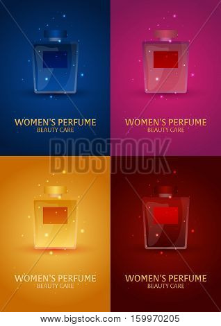 Set Of Posters Women's Perfume. Beauty Care. Classic Bottle Of Perfume. Liquid Luxury Fragrance Arom