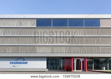 Skejby, Denmark - September 25, 2016: Harman building and office. Harman is an American company that designs and engineers connected products for automakers, consumers and enterprises worldwide