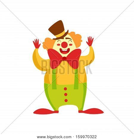 Clown Entertainer Kids Birthday Party Happy Smiling Animated Cartoon Girly Character Festive Illustration. Part Of Vector Collection Of Fantasy Creatures On Children Celebration Flat Drawings.