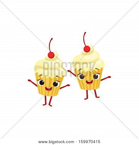Cupcakes With Cherry On Top Kids Birthday Party Happy Smiling Animated Object Cartoon Girly Character Festive Illustration. Part Of Vector Collection Of Fantasy Creatures On Children Celebration Flat Drawings.