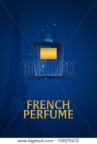 Poster Women's Perfume. French Perfume. Beauty Care. Classic Bottle Of Perfume. Liquid Luxury Fragra