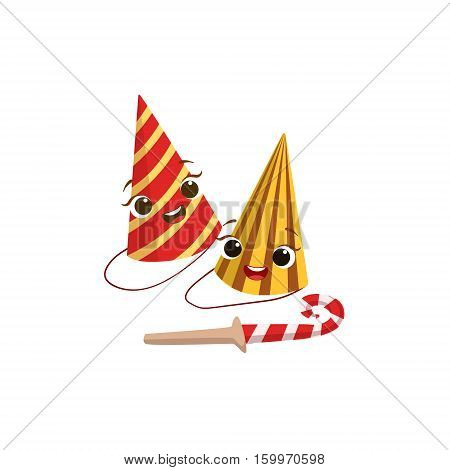 Two Paper Party Hats And Horn Kids Birthday Party Happy Smiling Animated Object Cartoon Girly Character Festive Illustration. Part Of Vector Collection Of Fantasy Creatures On Children Celebration Flat Drawings.