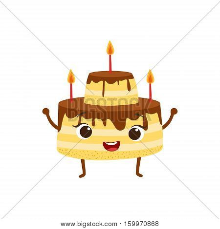 Layered Birthday Cake With Candles And Chocolate Icing Kids Birthday Party Happy Smiling Animated Object Cartoon Girly Character Festive Illustration. Part Of Vector Collection Of Fantasy Creatures On Children Celebration Flat Drawings.