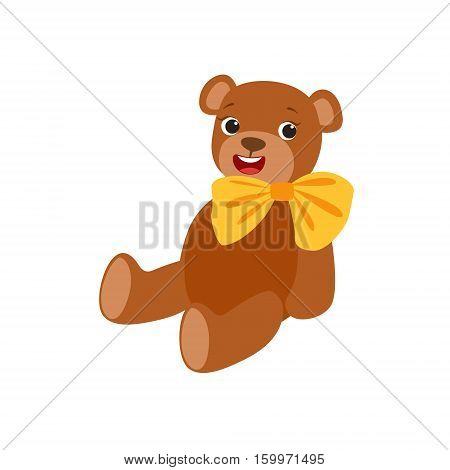 Teddy Bear With Yellow Bow Kids Birthday Party Happy Smiling Animated Object Cartoon Girly Character Festive Illustration. Part Of Vector Collection Of Fantasy Creatures On Children Celebration Flat Drawings.