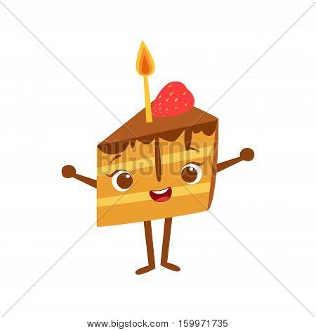 Piece Of Cake With Candle Kids Birthday Party Happy Smiling Animated Object Cartoon Girly Character Festive Illustration. Part Of Vector Collection Of Fantasy Creatures On Children Celebration Flat Drawings.