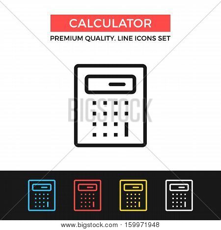 Vector calculator icon. Math, calculation, accounting. Premium quality graphic design. Signs, outline symbols collection, simple thin line icons set for websites, web design, mobile app, infographics