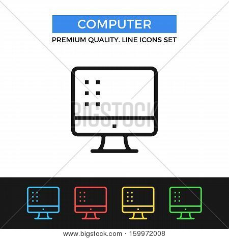 Vector computer icon. PC, display concepts. Premium quality graphic design. Modern signs, outline symbols collection, simple thin line icons set for websites, web design, mobile app, infographics