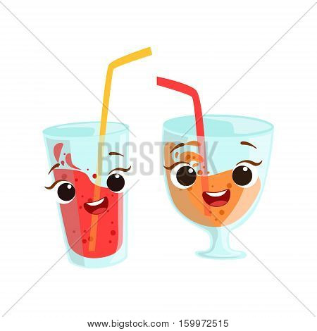 Sweet Drinks In Glasses Kids Birthday Party Happy Smiling Animated Object Cartoon Girly Character Festive Illustration. Part Of Vector Collection Of Fantasy Creatures On Children Celebration Flat Drawings.