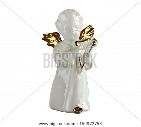 Serial porcelain figurine of angel playing the lute from the decor store isolated on white