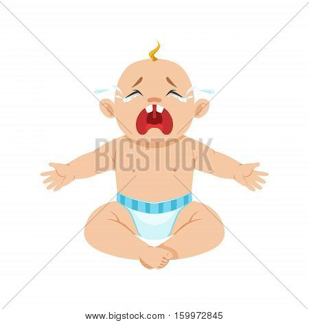 Little Baby Boy Sitting In Nappy Crying Hesterically With Eyes Full Of Tears, Part Of Reasons Of Infant Being Unhappy Cartoon Illustration Collection. Infancy And Parenthood Info Vector Drawings With Explanations Why Toddler Is Upset.
