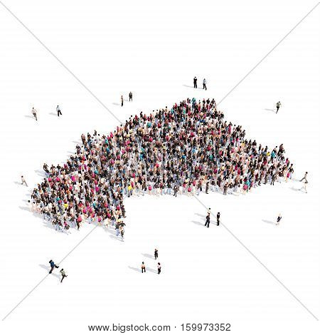 Large and creative group of people gathered together in the form of a map Burkina Faso. 3D illustration, isolated against a white background.