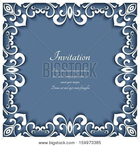 Square frame with cutout paper swirls, greeting card or wedding invitation template