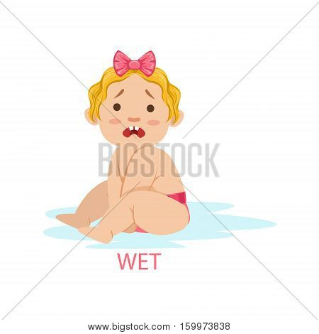 Little Baby Girl In Nappy Is Wet And Needs Change, Part Of Reasons Of Infant Being Unhappy And Crying Cartoon Illustration Collection. Infancy And Parenthood Info Vector Drawings With Explanations Why Toddler Is Upset.