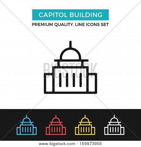 Vector Capitol building icon. Government concept. Premium quality graphic design. Modern signs, outline symbols collection, simple thin line icons set for website, web design, mobile app, infographics
