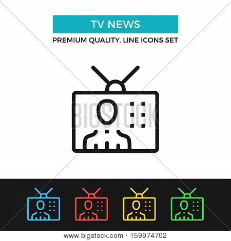 Vector TV news icon. Mass media, television. Premium quality graphic design. Modern signs, outline symbols collection, simple thin line icons set for websites, web design, mobile app, infographics