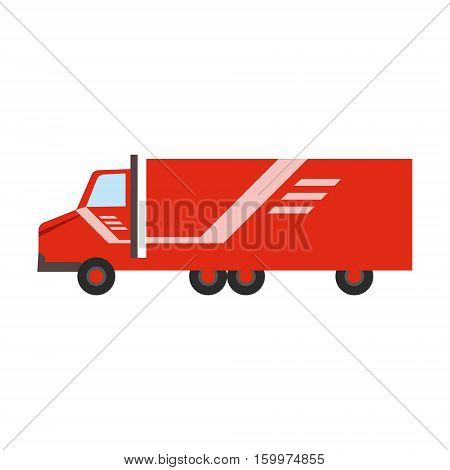 Delivery Service Company Red Long Distance Truck Delivering Shipment. Part Of Logistics Transport Firm Collection Of Cartoon Vector Illustrations.
