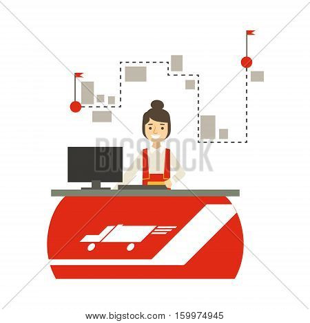 Delivery Service Company Office With Manager Responsible For Planning And Scheduling The Shipment. Part Of Logistics Transport Firm Collection Of Cartoon Vector Illustrations.